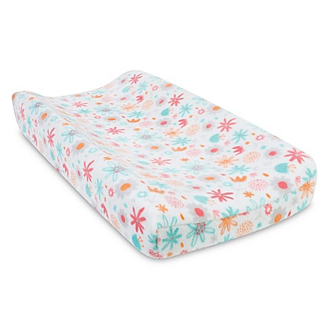 trend lab coral floral plush changing pad cover buybuy baby. Black Bedroom Furniture Sets. Home Design Ideas