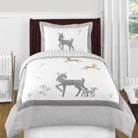 Sweet Jojo Designs Forest Deer 4-Piece Twin Comforter Set in Grey/White