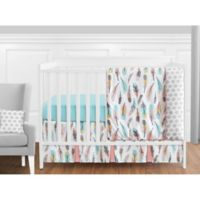 Sweet Jojo Designs Feather 11-Piece Crib Bedding Set in Turquoise/Coral