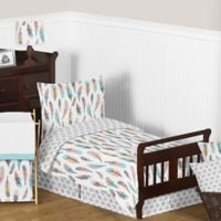 Sweet Jojo Designs Feather 5-Piece Toddler Bedding Set in Turquoise/Coral