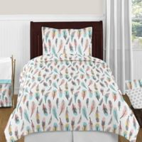 Sweet Jojo Designs Feather 4-Piece Twin Comforter Set in Turquoise/Coral