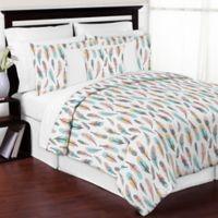 Sweet Jojo Designs Feather 3-Piece Full/Queen Comforter Set in Turquoise/Coral