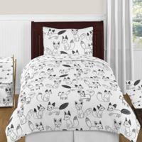 Sweet Jojo Designs Fox 4-Piece Twin Comforter Set in Black/White