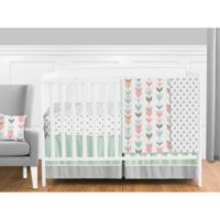 Sweet Jojo Designs Mod Arrow 11-Piece Crib Bedding Set in Coral/Mint