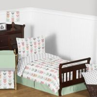 Sweet Jojo Designs Mod Arrow 5-Piece Toddler Bedding Set in Coral/Mint