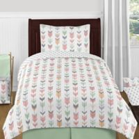 Sweet Jojo Designs Mod Arrow 4-Piece Twin Comforter Set in Coral/Mint