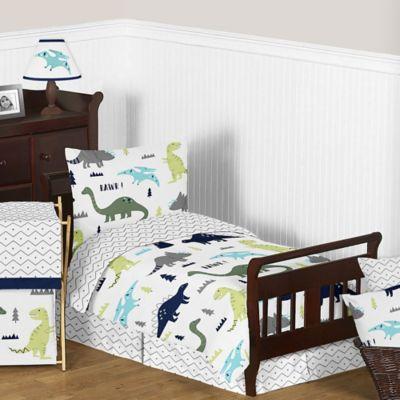 Sweet Jojo Designs Mod Dinosaur 5 Piece Toddler Bedding Set In  Turquoise/Navy