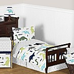 Sweet Jojo Designs Mod Dinosaur 5-Piece Toddler Bedding Set in Turquoise/Navy