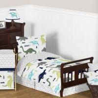 Sweet Jojo Designs Mod Dinosaur 5-Piece Toddler Bedding Set in Turquoise/Navy