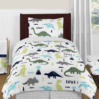 Sweet Jojo Designs Mod Dinosaur 4-Piece Twin Comforter Set in Turquoise/Navy