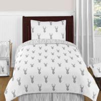 Sweet Jojo Designs Stag 4-Piece Twin Comforter Set in Grey/White