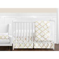 Sweet Jojo Designs Trellis 11-Piece Crib Bedding Set in White/Gold