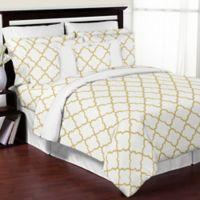 Sweet Jojo Designs Trellis 3-Piece Full/Queen Comforter Set in White/Gold