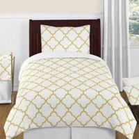 Sweet Jojo Designs Trellis 4-Piece Twin Comforter Set in White/Gold