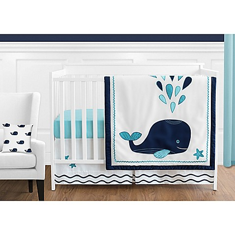 Sweet Jojo Designs Whale Crib Bedding Collection In Navy