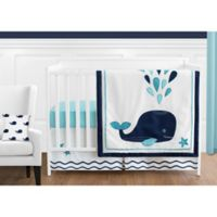 Sweet Jojo Designs Whale 11-Piece Crib Bedding Set in Navy