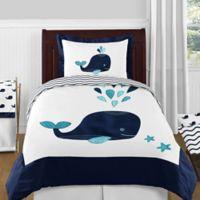Sweet Jojo Designs Whale 4-Piece Twin Comforter Set in Navy