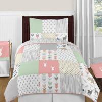 Sweet Jojo Designs Woodsy 4-Piece Twin Comforter Set in Coral/Mint