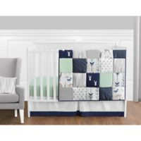 Sweet Jojo Designs Woodsy 11-Piece Crib Bedding Set in Navy/Mint