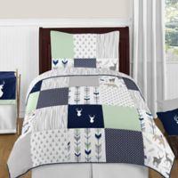 Sweet Jojo Designs Woodsy 4-Piece Twin Comforter Set in Navy/Mint