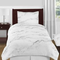 Sweet Jojo Designs Marble 4-Piece Twin Comforter Set in Black/White