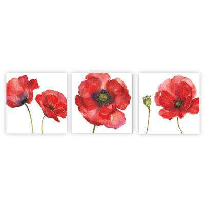 Arthouse Red Painted Poppies Canvas Wall Art (Set of 3)  sc 1 st  Bed Bath u0026 Beyond & Buy Poppy Wall Art from Bed Bath u0026 Beyond