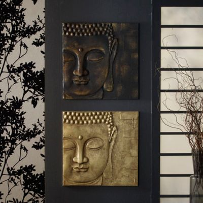 Product image for arthouse black and gold buddha canvas wall art 2 out of