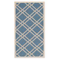 Safavieh Courtyard 4-Foot x 5-Foot 7-Inch Margot Indoor/Outdoor Rug in Blue/Beige