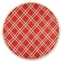 Safavieh Courtyard 7-Foot 10-Inch x 7-Foot 10-Inch Margot Indoor/Outdoor Rug in Red/Bone
