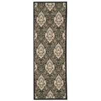 Safavieh Courtyard 2-Foot 3-Inch x 10-Foot Lyla Indoor/Outdoor Rug in Black/Sand