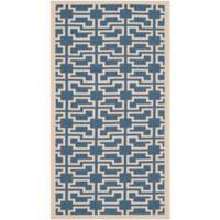 Safavieh Courtyard 4-Foot x 5-Foot 7-Inch Malia Indoor/Outdoor Rug in Blue/Beige