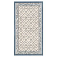 Safavieh Courtyard 2-Foot 7-Inch x 5-Foot Sloan Indoor/Outdoor Rug in Beige/Navy