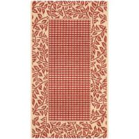 Safavieh Courtyard 2-Foot 7-Inch x 5-Foot Emma Indoor/Outdoor Rug in Red/Natural
