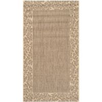 Safavieh Courtyard 4-Foot x 5-Foot 7-Inch Emma Indoor/Outdoor Rug in Brown/Natural