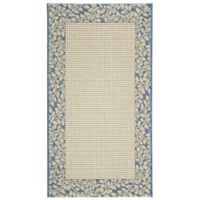 Safavieh Courtyard 4-Foot x 5-Foot 7-Inch Emma Indoor/Outdoor Rug in Natural/Blue