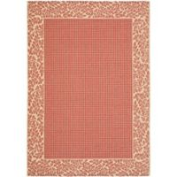 Safavieh Courtyard 9-Foot x 12-Foot Emma Indoor/Outdoor Rug in Red/Natural