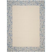Safavieh Courtyard 9-Foot x 12-Foot Emma Indoor/Outdoor Rug in Natural/Blue