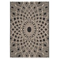 Safavieh Courtyard 2-Foot 7-Inch x 5-Foot Lacey Indoor/Outdoor Rug in Black/Beige