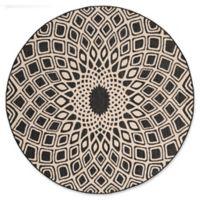 Safavieh Courtyard 6-Foot 7-Inch x 6-Foot 7-Inch Lacey Indoor/Outdoor Rug in Black/Beige