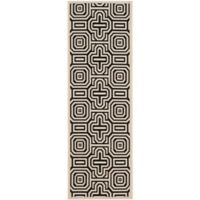 Safavieh Courtyard 2-Foot 3-Inch x 12-Foot Daisy Indoor/Outdoor Rug in Sand/Black