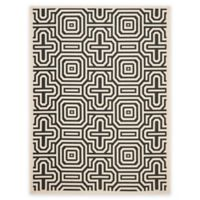 Safavieh Courtyard 5-Foot 3-Inch x 7-Foot 7-Inch Daisy Indoor/Outdoor Rug in Sand/Black