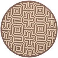 Safavieh Courtyard 6-Foot 7-Inch x 6-Foot 7-Inch Daisy Indoor/Outdoor Rug in Chocolate/Natural