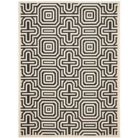 Safavieh Courtyard 6-Foot 7-Inch x 9-Foot 6-Inch Daisy Indoor/Outdoor Rug in Sand/Black