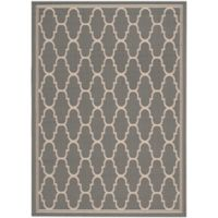 Safavieh Courtyard 6-Foot 7-Inch x 9-Foot 6-Inch Laura Indoor/Outdoor Rug in Anthracite/Beige
