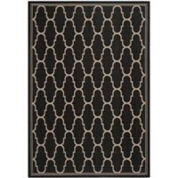 Safavieh Courtyard 9-Foot x 12-Foot 6-Inch Laura Indoor/Outdoor Rug in Black/Beige