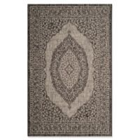 Safavieh Courtyard 2-Foot 7-Inch x 5-Foot Sandra Indoor/Outdoor Rug in Light Grey/Black