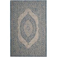 Safavieh Courtyard 5-Foot 3-Inch x 7-Foot 7-Inch Sandra Indoor/Outdoor Rug in Light Grey/Blue