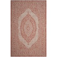 Safavieh Courtyard 6-Foot 7-Inch x 9-Foot 6-Inch Sandra Indoor/Outdoor Rug in Light Beige/Terracotta