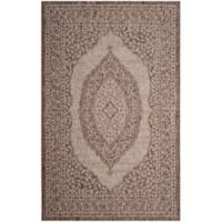 Safavieh Courtyard 8-Foot x 11-Foot Sandra Indoor/Outdoor Rug in Light Beige/Brown