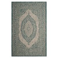 Safavieh Courtyard 8-Foot x 11-Foot Sandra Indoor/Outdoor Rug in Light Grey/Teal